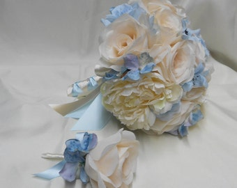 Wedding Bridal Bouquet Your Colors 2 pieces Ivory  Rose Light Blue Hydrangeas Lily peony with Boutonniere Centerpiece FREE SHIPPING