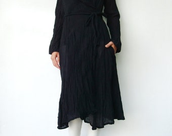 NO.87 Black Cotton Crinkle Warp Dress, Long Sleeves Cardigan, Day Dress