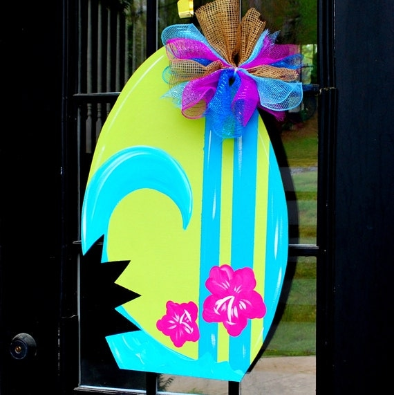 Summer Door Hanger: surfboard Door Decoration Summer Wreath