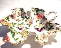 Royal Danube Gold Rimmed Chintz Floral Leaf Shaped Dish Porcelain Dish Tray Large