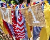 Red, Blue, and Yellow Circus Carnival Themed First Birthday Fabric and Burlap High Chair Banner