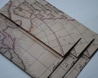 Old World Map Set of 3 Handmade Envelopes by Paper Hearts Station on Etsy