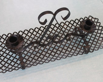 2 available, Mid Century Black Punched metal Centerpiece, Candle holders, Tray, Dish, Mantlepiece, Decor