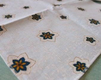 Vintage set of 12 Crisp white napkins with Blue, Yellow, and Gold Flowers , Geometric Flower Floral design, crisp white napkins, handmade