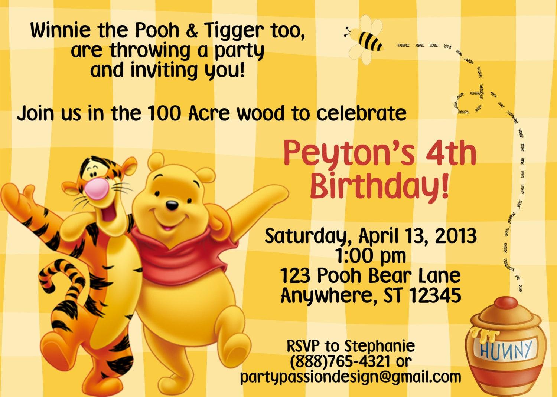 40th Birthday Ideas: Birthday Invitation Templates Winnie Pooh