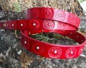 Red Leather Leash, Dog Leash, Red Lead with flowers and crystals