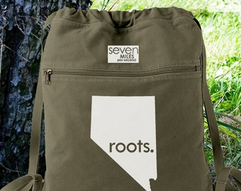 Nevada NV Roots Canvas Backpack Cinch Sack