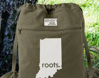 Indiana IN Roots Canvas Backpack Cinch Sack