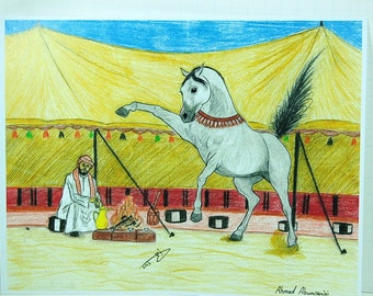Tent Master and Arabian Horse - By Ahmad Abumraighi
