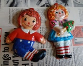 Set of Two Vintage Raggedy Ann and Andy ornaments
