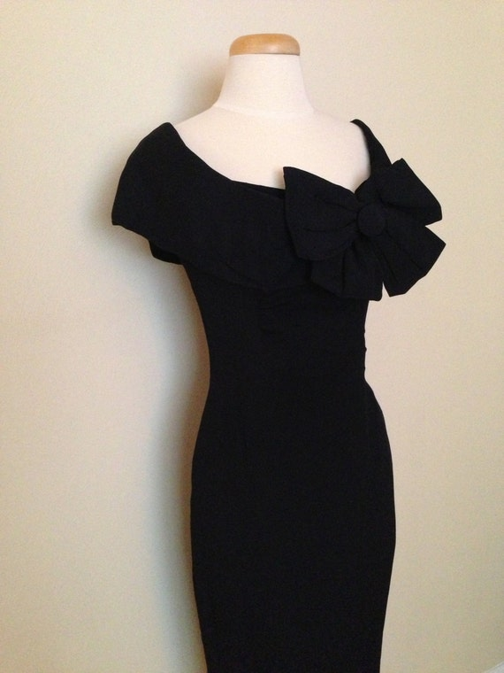 SALE 1950&-39-s Vintage Little Black Dress with Sassy Bow by VBVintage