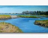 Biddeford Pool Oil Painting, Early Spring Marsh, original, landscape. Maine Art by Adrienne Kernan LaVallee BRIGHT BLUE
