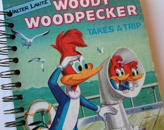 1977 Vintage Woody Woodpecker Little Golden Book Recycled Journal Notebook