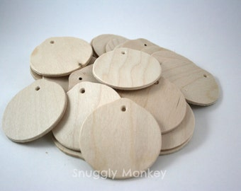 Round Wood Tags | Unfinished Wooden Gift Tags for Wedding Favors, Christmas Gift Tags, Ornaments, Party Favors