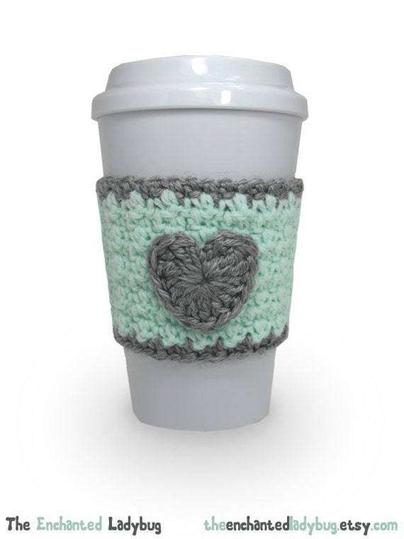Crochet Heart Coffee Cup Cozy in Mint Green by TheEnchantedLadybug