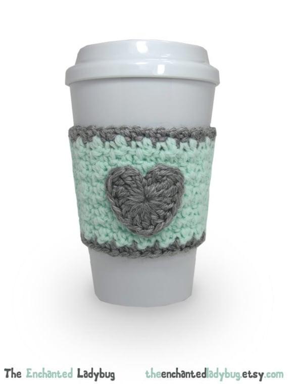 Crochet Heart Coffee Cup Cozy in Mint Green by ...