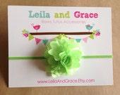 Lime Green Satin & Tulle Baby Headband, Newborn Headband, Toddler Headband
