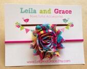 Multi Colored Shabby Chic Chiffon Flower Headband- Baby Headband Toddler Headband Newborn Headband