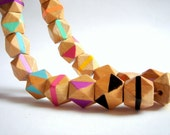 Hand painted  Geometric Natural Wood Beads,Do it Yourself Geometric necklace