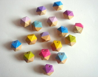 Hand painted Neon Geometric  Wood Beads,Do it Yourself Geometric necklace