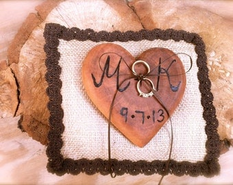 Rustic wedding ring bearer pillow wooden heart country forest fall rings holder