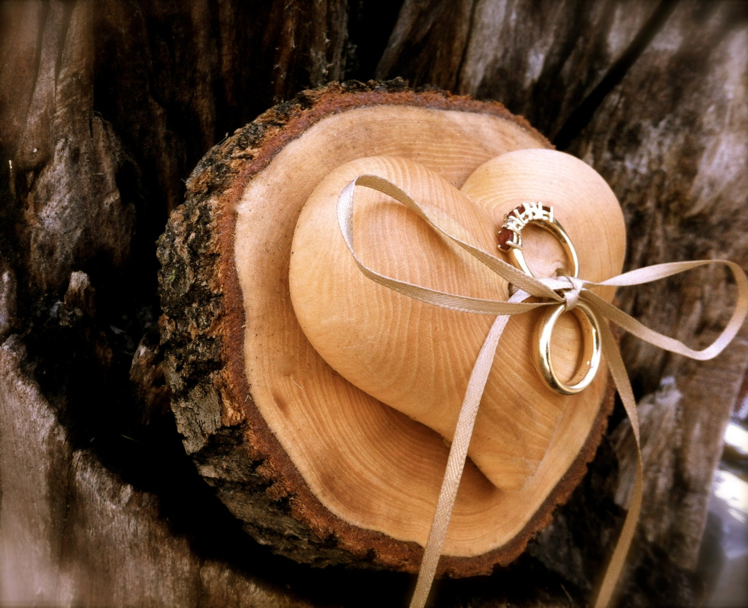 rustic ring bearer wooden ring bearer wooden heart wedding. Black Bedroom Furniture Sets. Home Design Ideas