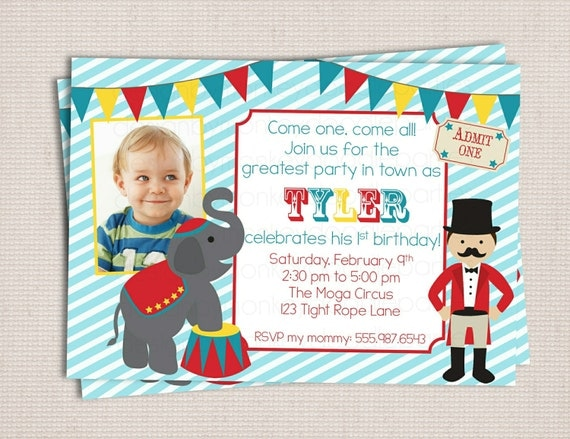 Under the Big Top Circus Carnival Themed Birthday Party Printable