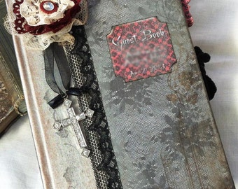 Gothic Wedding guestbook - shabby chic vintage