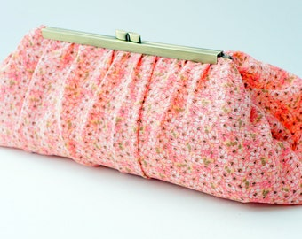Pink Coral Clutch Purse - Romantic Floral Bridesmaid Handbag - Gift for Women - Includes Chain - Ready to Ship!