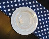 Polka Dot Table Runner in White on Navy
