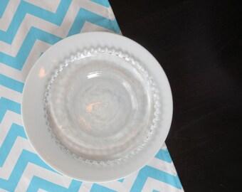Chevron Table Runner in Aqua Blue & White
