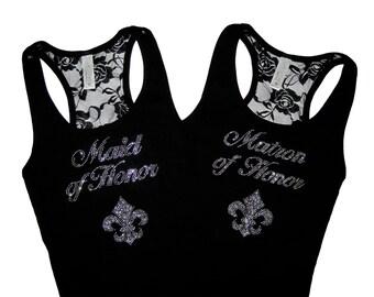 2 Bride Tank Tops with Fleur de lis Design. Bride tank Top Shirt. Lace Tank Top. Bridesmaid Tank Top Shirts. Wedding / Clothing
