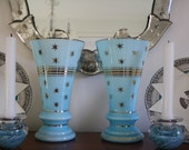 ON HOLD vintage light blue glass Czechoslovakian vases with gold trim and stars