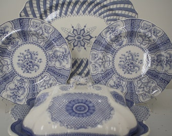 """Antique English """"Water Lilly"""" Stone China Plate blue and white by John Ridgway 1830-40"""
