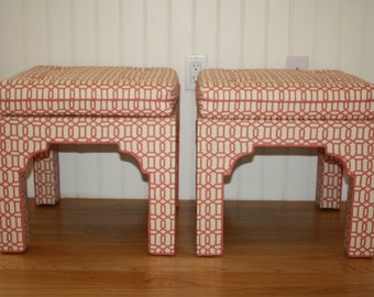 SALE Pair upholstered Mid Century style Pagoda , chinoiserie, benches stools ottoman geometric fabric reproduction coral pink