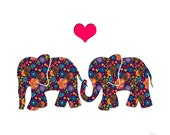 Elephants in love - valentines card, birthday, wedding, anniversary or engagement. Blank inside for you own message.