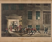 """Vintage 1800s Firefighter Illustration, """"The Life of a Fireman."""" Ver. 2 Firefighter gift or fire decor"""