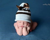Newborn Baby Hat, Newborn Photo Prop, Baby Boy Photo Prop, Blue and Brown Baby Boy Knit Hat, Baby Hat, Blue Baby Hat with Brown Ribbon