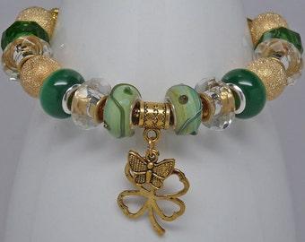 IRISH POT of GOLD:  European Style Large Hole Bead Green Gold Shamrock St. Patricks Day Bracelet