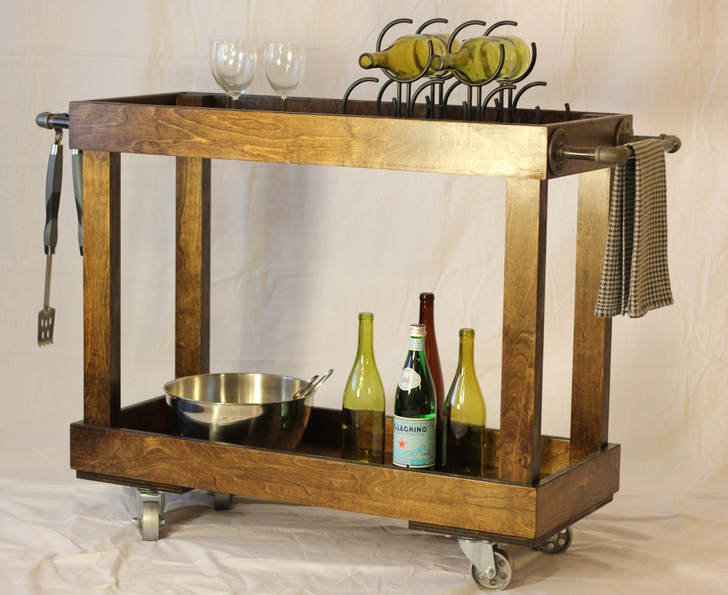 Wood Bar Cart With Casters And Industrial Pipe Towel Bars