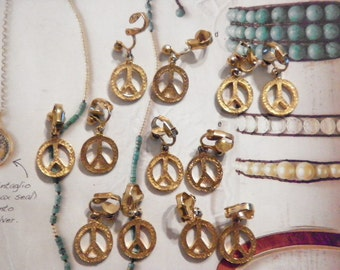 6 Prs. Vintage Goldplated 14mm Peace Sign Earrings with Clutch