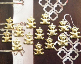 14 Vintage Goldplated 18mm Teddy Bear Charms