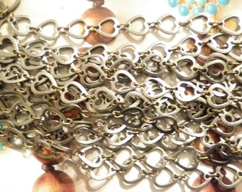 6 Ft. of Vintage Steel Alloy 10mm Heart Chain