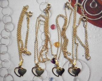 "4 Viintage Goldplated Double Heart Pendants on 18"" Chain"