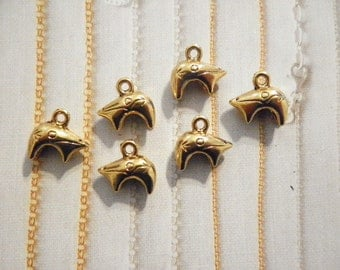 6 Goldplated 14mm Animal Charms