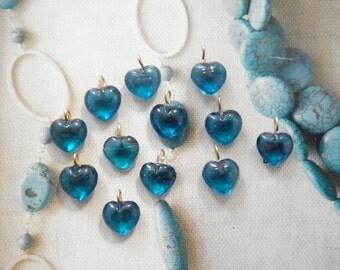 12 Glass 10mm Sapphire Blue Heart Charms