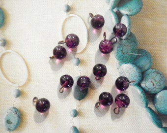 12 Glass 7mm Amethyst Round Charms