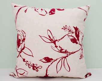 Linen decorative pillow, throw pillow case, accent pillow - 18 x 18 Inches pillow case beige and dark red / crimson / cranberry / scarlet