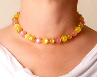 Vintage Yellow and Pink Bead Choker Necklace