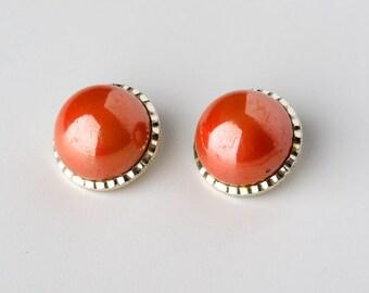 Vintage Orange Cabochon Clip On Earrings Marked Hong Kong